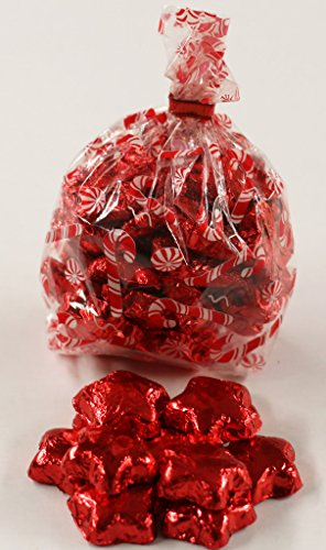 Scott's Cakes Red Foil Wrapped Solid Milk Chocolate Stars in a 1 Pound Candy Cane Bag