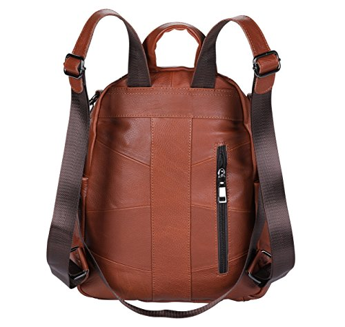 Backpack phone ANNA Rucksack FB5 Purse Casual Notebook Women for Leather QUEEN Bag Mini Brown leather Shoulder Fashion ipad CF41nqRF