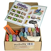 Needle Felting Starter Kit by Woolbuddy – 16 Wool Colors, Felting Foam Mat, 6 Needles, 3 Thimbles & Instruction Manuel – Great for Arts & Crafts, Decorations, Ornaments & Easy for Beginners
