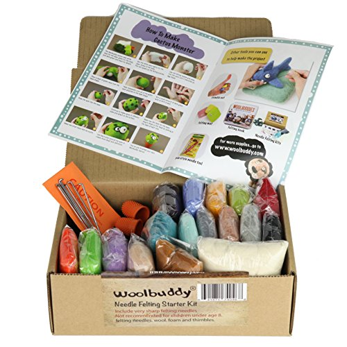 Woolbuddy Needle Felting Starter Kit by 16 Wool Colors, Felting Foam Mat, 6 Needles, 3 Thimbles & Instruction Manuel - Great for Arts & Crafts, Decorations, Ornaments & Easy for Beginners
