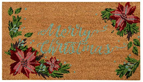 Natural Coir Door Mat - Merry Christmas Indoor Outdoor Welcome Doormat, Easy Clean, PVC Anti-Slip Backing Front Entry Mats, Holiday Red Poinsettia and Leaves Design, Brown, 17.2 x 30 x 0.5 Inches (Coir Mat Christmas Door)