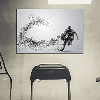 Canvas Wall Art Sports Theme - Man Dribbling a Basketball Formed Black Dots - Giclee Print Gallery Wrap Modern Home Art Ready to Hang - 16x24 inches