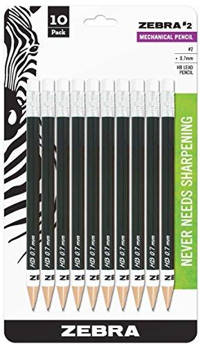 Zebra #2 Mechanical Pencil, 0.7mm Point Size, Standard HB Lead, Black Barrel, 10-Count