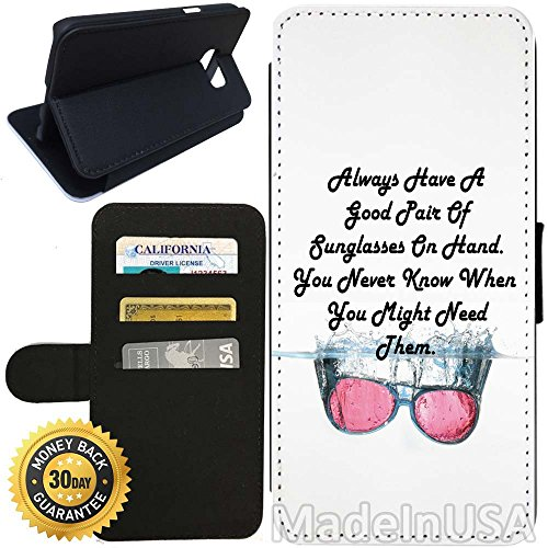 Flip Wallet Case for Galaxy S7 (Sunglasses Quote) with Adjustable Stand and 3 Card Holders | Shock Protection | Lightweight | Includes Stylus Pen by - Ebay Sunglasses Coach
