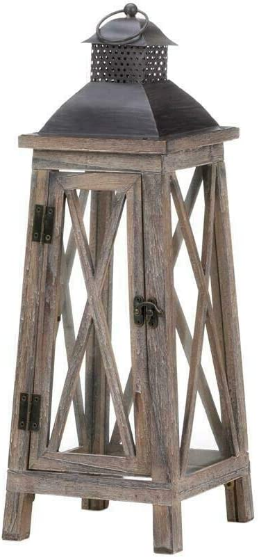 """Large Rustic WATCHTOWER Wood Candle Lanterns 19/"""" Tall Set of 2"""
