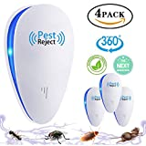 Tomu Ultrasonic Pest Repeller for Bugs and Insects, Mice Repellent to Repel and Prevent Mouse, Ant, Mosquito, Spider, Rodent, Roach,Child and Pets Safe Control(4 Packs)