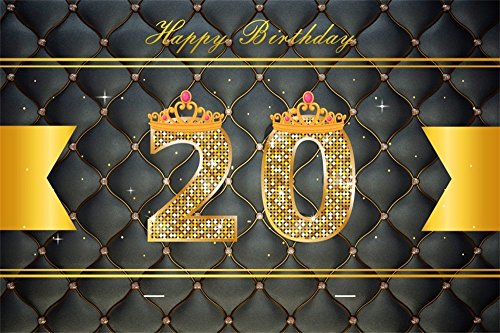- LFEEY 7x5ft Girl Boy 20th Birthday Backdrop for YouTube Videos Black Headboard Upholstered Tuft ed Princess Crown Twenty Years Old Birth Party Photography Background Photo Studio Props