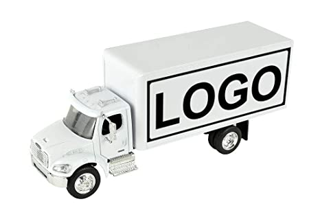 Shop72 Personalized Diecast Truck 1:43 Scale Customized Freightliner M2  White Box Truck with Your Logo, Image or Message