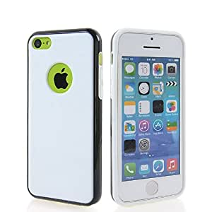 KCASE Flexible Gel TPU Soft Silicone Back Case Cover For Apple iPhone 5C White Black