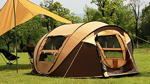 MaxMiles 3 or 4 Person / Family-Size Tent - Premium Lightweight & Rugged Fully-Waterproof Outdoor INSTANT POPUP Tent for Camping Beach Woods Play Den Top Quality Weatherproof Tent (Orange, 3 person)