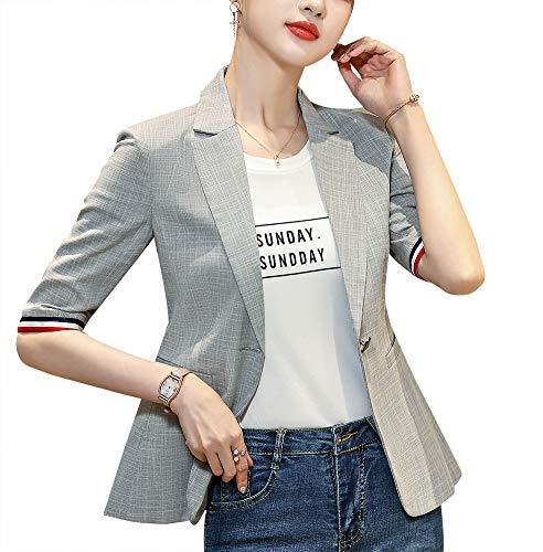 Women's Casual One Button Blazer Jacket Slim Fit Work Office Blazer (626-Light Grey, X-Large)