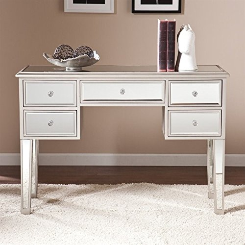 Southern Enterprises Mirage Mirrored Console Table in Silver - Console Style Vanity