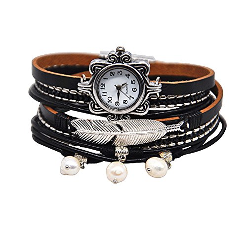 MINILUJIA Mother's Gift Vintage Casual Bohemian Style Women Leather Watch Small Watch Face Double Wrap Around Watch with Feather Pearl Magnetic Clasp Black Strap (11.8