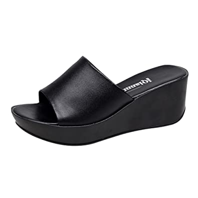 b5e392264e30 Vatiu Women s Leather Rubber Sole Summer Platform Sandals Black 36 5.5 D(M)  US