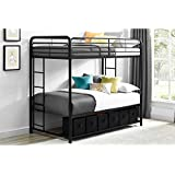 Twin Over Twin Metal Bunk Bed with Storage Bins and 2 Integrated Side Ladders, Black