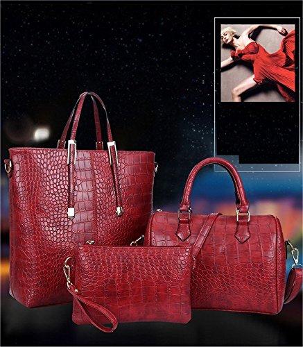 Frauen Taschen, Damen Handtaschen, PU Leder Rot Schulter Beutel (3 Stuck)