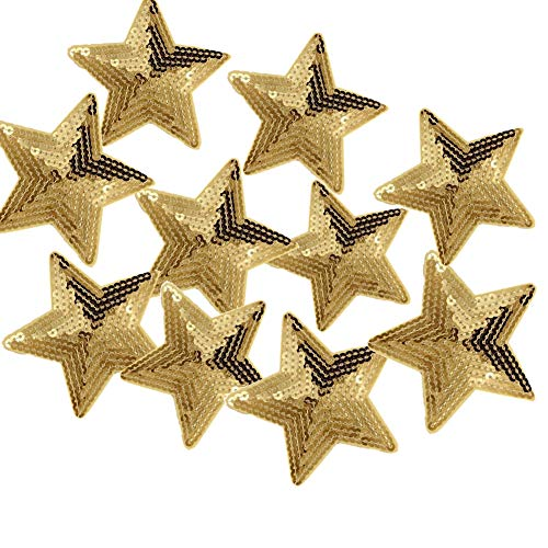 - Ximkee Pack of 10 Shiny 5 Star Sequins Sew Iron on Applique Embroidered Patches-Gold