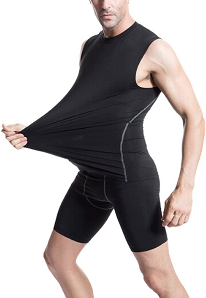 Athletic Workout T-Shirt TOPTIE Mens Compression Sleeveless Base Layer