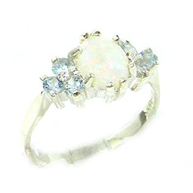 Ladies Contemporary Solid 9ct White Gold Natural Opal & Aquamarine Ring qTG6cMHeE