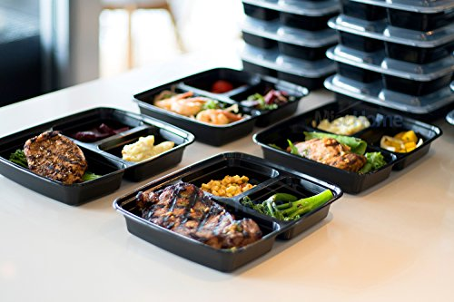 [IMPROVED DESIGN][18 PACK] MiscHome 3 Compartment Meal Prep Containers | 36 Oz. Three Compartment Food Storage Containers with Lids | BPA Free Bento Boxes | Meal Prep Container Three Compartment 36 Oz by Misc Home (Image #1)