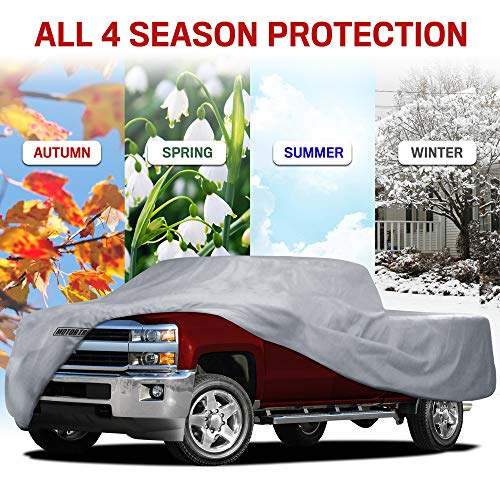 Motor Trend 4-Layer 4-Season (Waterproof Outdoor UV Protection for Heavy Duty Use Full Car Cover for Pickup Truck Size XS)