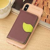 DAMONDY Xs Max Case,iPhone Xs Max Case, Luxury Leaf Wallet Purse Card Holders Design Cover Soft Bumper Shockproof Flip Leather Kickstand Rugged Anti-Slip Phone Case for iPhone Xs Max 6.5-Brown