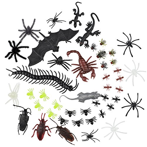 WXJ13 44 Pieces Lifelike Plastic Bugs Fake Spiders, Gecko, Flies and Bat for Halloween Party Favors and Decoration -