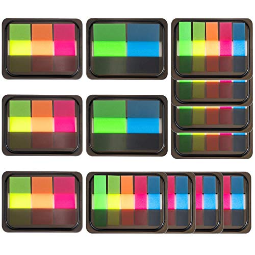 JamBer 1120 Pieces Pop-up Index Tabs Page Markers Sticky Neon Page Flags Tabs Polka Dots and Stripes Index Flag Tabs for Marking, 14 Sets ()