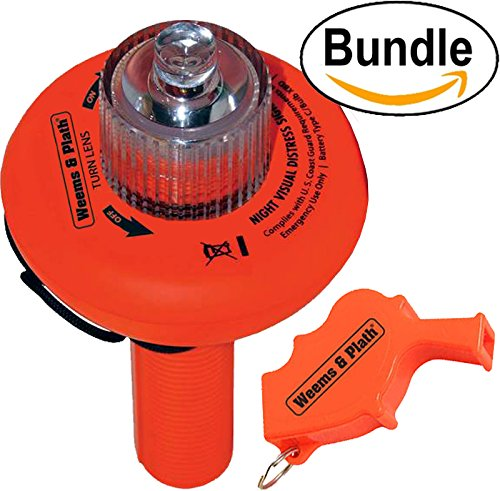 SOS DISTRESS LED Electronic Flare Light, The Only Alternative To Traditional Flares (Safety Orange) #C-1001 & Weems Storm Safety Whistle (Signal Strobe Light)