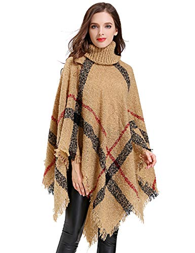 (HITOP Womens Dress Ponchos, Boho Loose Tassel Plaid Poncho Turtleneck Jumper Knit Oversized Pullover Sweater Tops for Women)