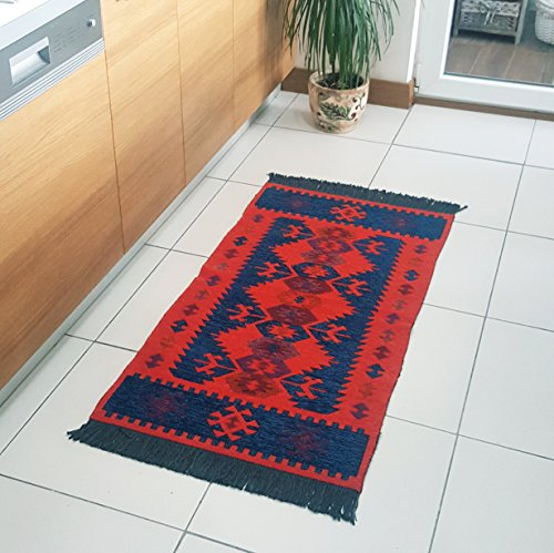 (Modern Bohemian Style Small Area Rug, 2' x 4' feet, Washable, Natural Dye Colors, Reversible (Navy Blue-Orange))