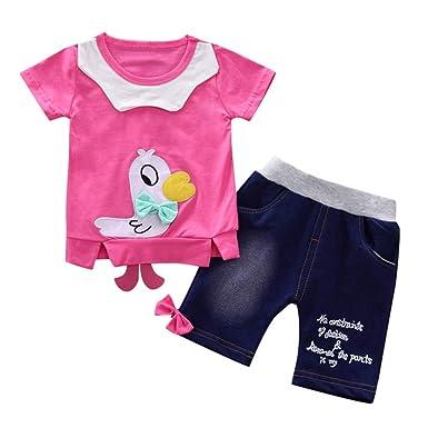 7f07c46a360d Amazon.com  Hatop(TM) Toddler Baby Girls Cartoon Duck Tops Bow ...