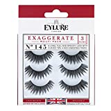 Eylure Exaggerate False Eyelash Multipack, Style No. 145, Reusable, Adhesive Included, 3 Pair
