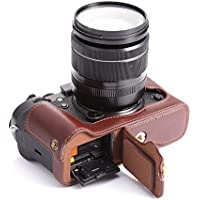 BolinUS Handmade Genuine Real Leather Half Camera Case Bag Cover for Fujifilm X-T2 Fuji XT2 Bottom Opening Version + Hand Strap -Coffee