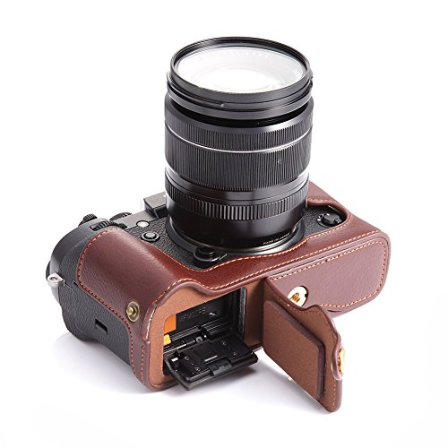 X-T2 X-T3 Case, BolinUS Handmade Genuine Real Leather Half Camera Case Bag Cover for Fujifilm X-T2 Fuji XT2 Bottom Opening Version  Hand Strap -Coffee