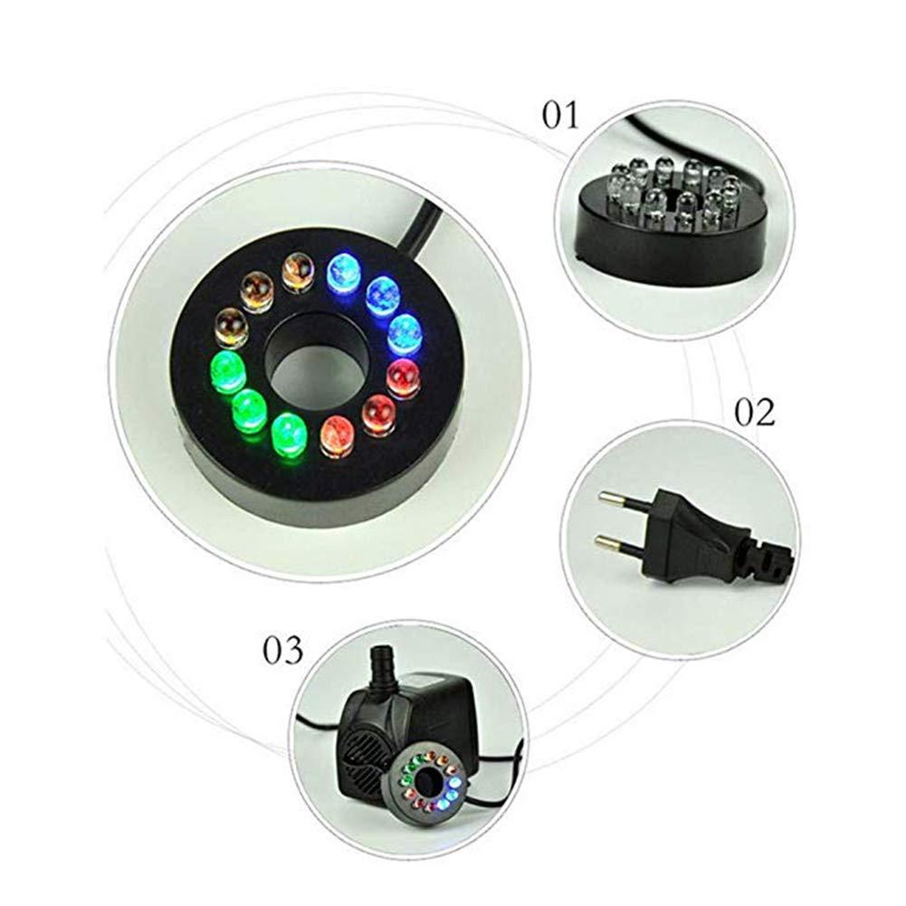 HOTSO Bomba de Agua Sumergible Mini Caudal de Agua 10W Bajo Consumo 800L//H Eficiente+LED Luz de 12 Bombillas para Pecera Acuario Estanque Fuente Interior Sistemas Hidrop/ónicos