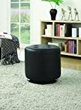 Coaster Home Furnishings Round Upholstered Ottoman Black For Sale