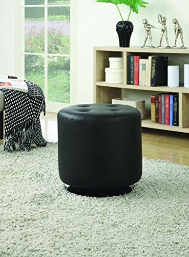 - Coaster Home Furnishings Round Upholstered Ottoman Black