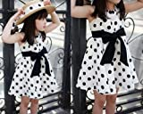 Software : Clearance! Napoo 1PC Kids Girl Polka Dot Print Sleeveless Chiffon Sundress Dress (6-7 Years, White)