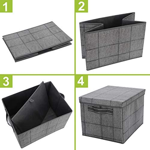 51GZrSkVkSL. AC - VENO Foldable Storage Bin With Lid, Sturdy Storage Box, Closet Organizer, Nursery Hamper, Collapsible Basket With Handle For Home, Bedroom, Playing Room, Office, Living Room (3-Pack, Jumbo, BLK/Win)