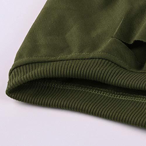 Donna Pullover Elegante Donna Lunghe Felpe Magliette Moda Tagliato Pullover Camicetta Lunga Top Camicette Maniche A Maglione Verde Manica Casual Felpa VICGREY xTwU5pqWt5