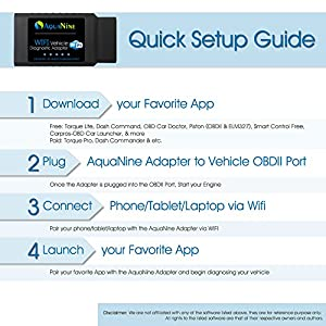 OBD2 OBDII Wifi Car Diagnostic Scanner by AquaNine - Code Reader Scan Tool for iOS, Android and Windows Devices - Read and Clear CEL Trouble Codes - Monitor Engine Performance with What the Pros Uses!