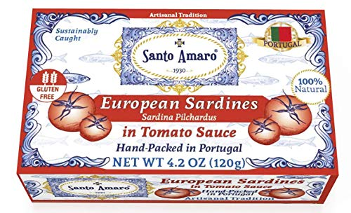Style Tomato Sauce - SANTO AMARO European Wild Sardines in Tomato Sauce from Puree (12 Pack, 120g Each) IBERIA STYLE! 100% Natural - Wild Caught Sardines - GMO FREE - Keto - Paleo - Hand Packed in PORTUGAL