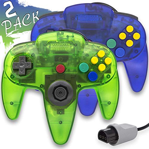 Wired Controller for Nintendo 64 N64 Console, Upgraded Joystick Classic Video Game Gamepad (Clear Green and Clear Blue)