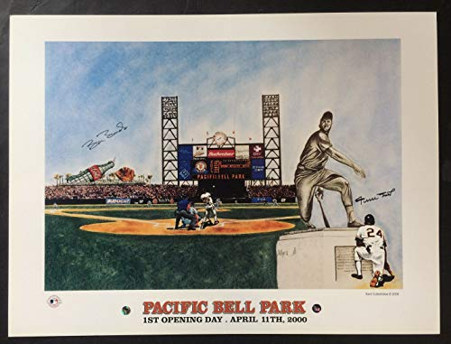 Willie Mays Barry Bonds Autographed Signed Memorabilia Pacific Bell Park Litho 2 Auto Say Hey Holo Coa - Certified Authentic