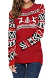 Hanlolo Christmas Family Gift Women's Reindeer Sweater Pullover Long Sleeve Round Neck Kintted Top Red S