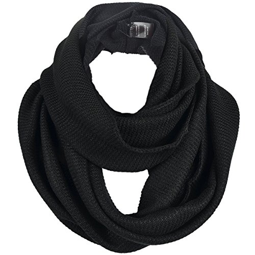 - FORBUSITE Stylish Men Cable Soft Knit Infinity Scarf (E5081b-Black)