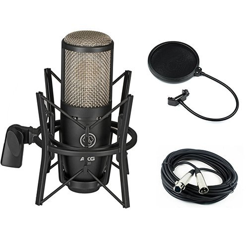 Condenser Large True Diaphragm (AKG Project Studio P220 Large Diaphragm Condenser Microphone with Pop Filter and XLR to XLR Cable)