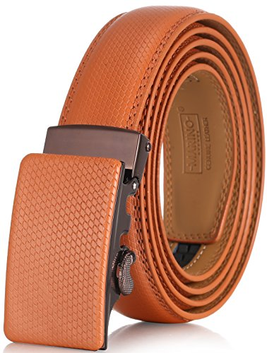 Brown Genuine Belt (Marino Men's Genuine Leather Ratchet Dress Belt with Automatic Buckle, Enclosed in an Elegant Gift Box - Tan - Style 531 - Custom: Up to 44