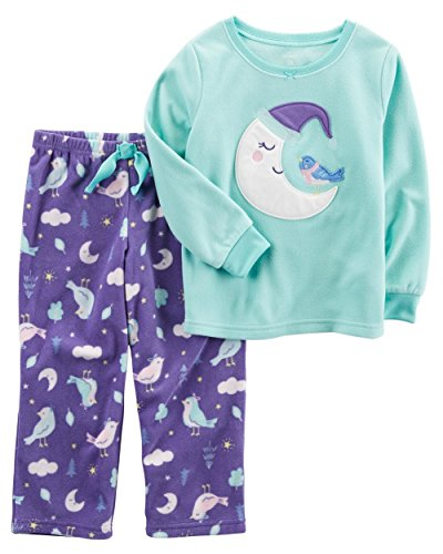 Carters Baby Girl 2 Piece (Carter's Baby Girls' 12M-8 2 Piece Moon Bird Fleece Pajama Set 24 Months)